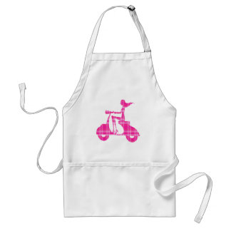 girl scooter pink white gingham adult apron