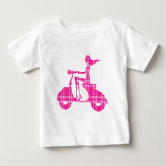 girl scooter pink white gingham baby T-Shirt