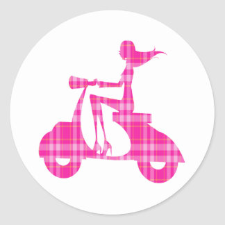 girl scooter pink white gingham stickers
