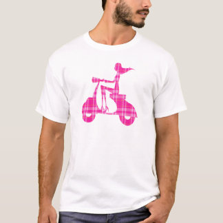 girl scooter pink white gingham T-Shirt