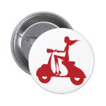 Girl Scooter red 2 Inch Round Button