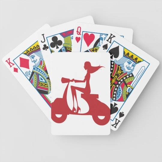 Girl Scooter red Bicycle Playing Cards