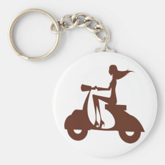 Girl Scooter red brown Keychain