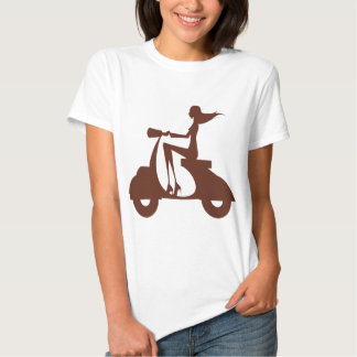 Girl Scooter red brown T-shirt