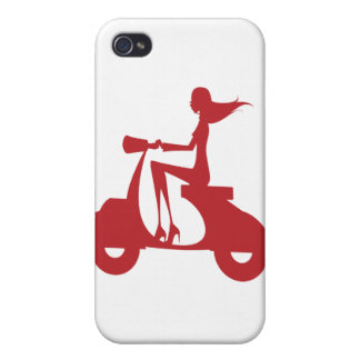 Girl Scooter red Covers For iPhone 4