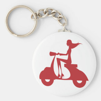 Girl Scooter red Keychain