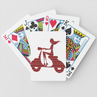 girl scooter red white gingham bicycle playing cards