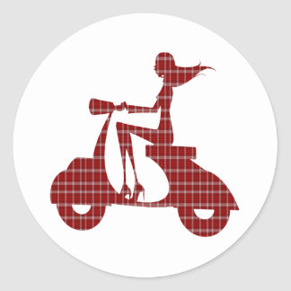 girl scooter red white gingham classic round sticker