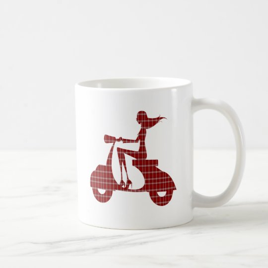 girl scooter red white gingham coffee mug
