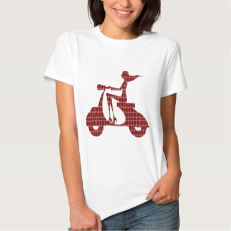 girl scooter red white gingham t shirts