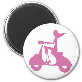 Girl Scooter soft pink 2 Inch Round Magnet