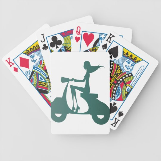 Girl Scooter teal gradient Bicycle Playing Cards