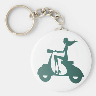 Girl Scooter teal gradient Keychain