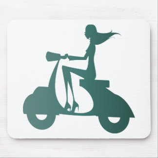 Girl Scooter teal gradient Mouse Pad