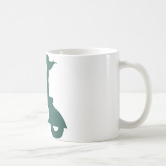 Girl Scooter teal gradient Classic White Coffee Mug