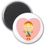 Girl Scout Brownie - Blonde Fridge Magnet