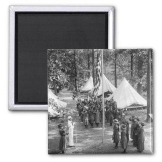 Girl Scout Flag-Raising: 1919 Refrigerator Magnet