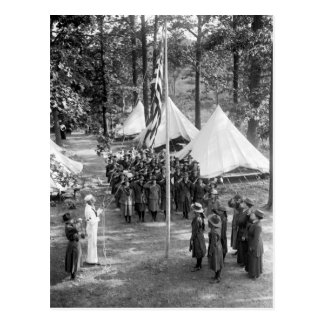 Girl Scout Flag-Raising: 1919 Postcard