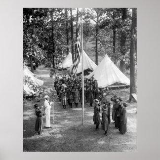 Girl Scout Flag-Raising: 1919 Poster