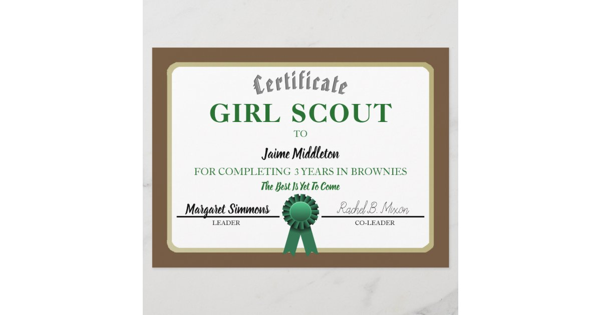 Girl Scouting Brownies Service Certificate