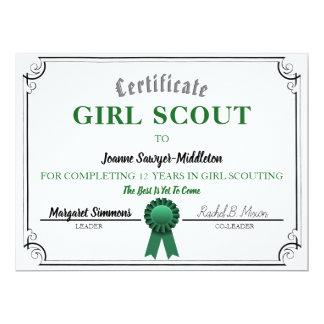 Girl scout cards greeting photo cards zazzle girl scouting service certificate template yelopaper Gallery