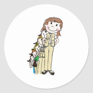 Girl Scouts Throught The Years Classic Round Sticker
