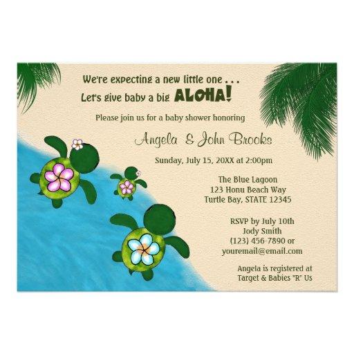 GIRL Sea TURTLE Baby Shower Invite PINK (Honu) 01B