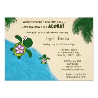 GIRL Sea TURTLE Baby Shower Invite PURP (Honu) 04A