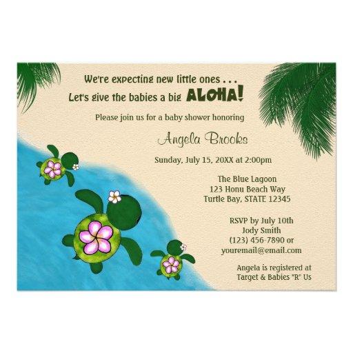 GIRL Sea TURTLE Baby Shower Invite TWIN (Honu) 01C