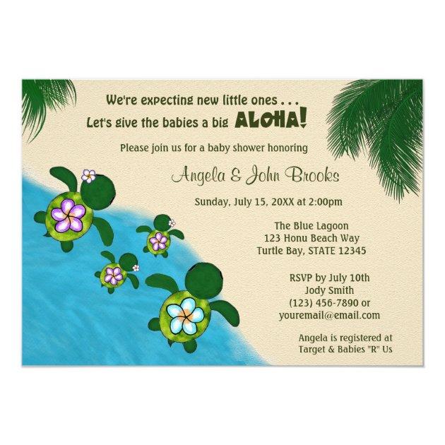 GIRL Sea TURTLE Baby Shower Invite TWIN (Honu) 04D | Zazzle