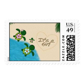 GIRL Sea TURTLE Baby Shower PINK Postage Honu-01B
