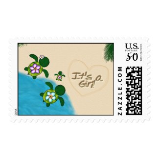 GIRL Sea TURTLE Baby Shower PURPLE Honu-04B