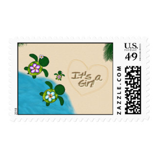 GIRL Sea TURTLE Baby Shower PURPLE Honu-04B Stamps