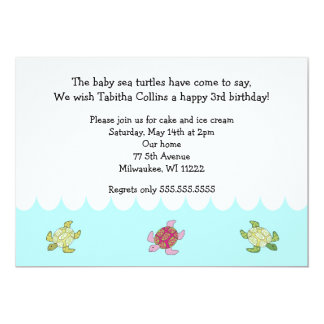 Girl Sea Turtles 3rd Birthday Party Invitation