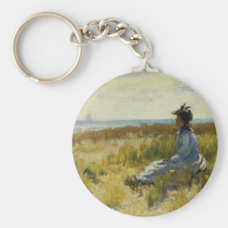 Girl Seated by the Sea Keychain