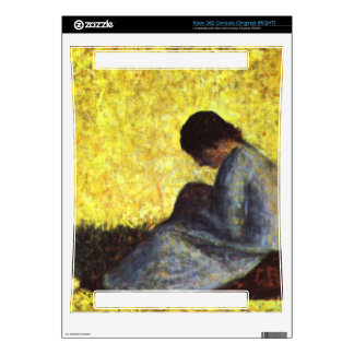 Girl seated on the lawn by Georges Seurat Decals For The Xbox 360