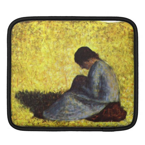 Girl seated on the lawn by Georges Seurat Sleeve For iPads