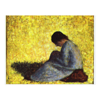Girl seated on the lawn by Georges Seurat Postcard