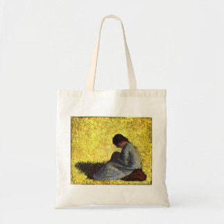 Girl seated on the lawn by Georges Seurat Tote Bag