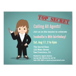 Girl Secret Agent Birthday Party Card