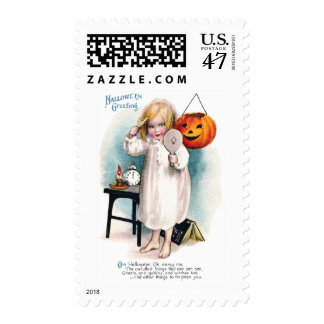 Girl Sees Reflection of Jack O'Lantern Halloween Postage