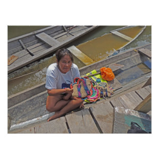 Girl Selling Crafts from Her Boat in the Amazon Poster