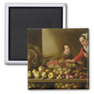 Girl selling grapes 2 inch square magnet