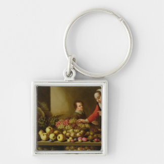 Girl selling grapes keychain