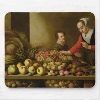 Girl selling grapes mouse pad