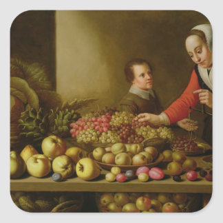 Girl selling grapes square sticker