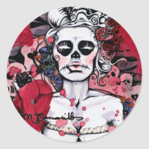 artsprojekt, nichole, camarillo, nichole camarillo, nicholecamarillo.com, art, artist, fine art, mexican art, mexican, mexico, paint, painting, illustration, design, woman, female, what's a girl to do, dress, skull, skulls, dying, gun, hearts, love, loss, unsatisfied, sad, depressed, black, white, dark, done, unloved, gouache, marker, stickers, sticker sheet, decorations, accessories, Adesivo com design gráfico personalizado