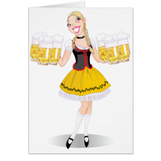Girl Serving Beer Note Cards