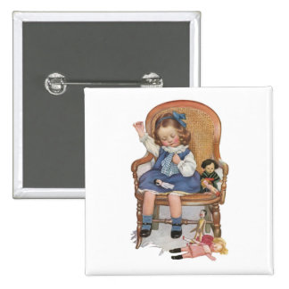Girl Sewing Dollies Button