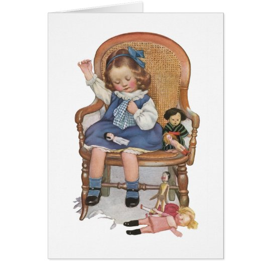 Girl Sewing Dollies Card